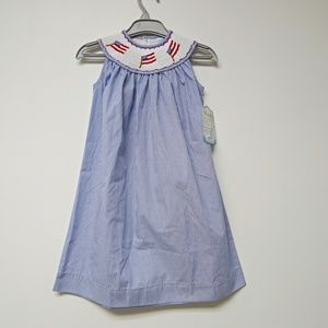 red white & blue flag Patriotic hand smocked dress